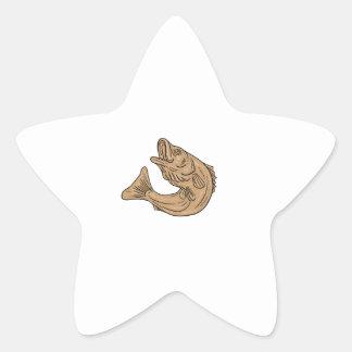 Rockfish Jumping Up Drawing Star Sticker