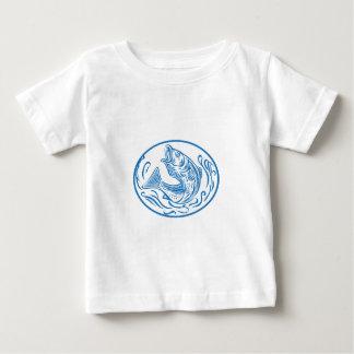 Rockfish Jumping Up Oval Drawing Baby T-Shirt