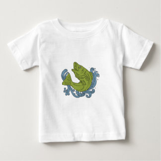 Rockfish Swooping Up Turbulent Waters Drawing Baby T-Shirt