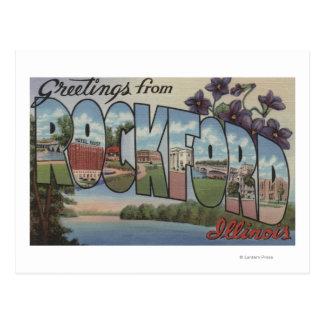ROCKFORD Illinois - escenas grandes de la letra Tarjetas Postales