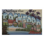 Rockford, Illinois - Large Letter Scenes Poster