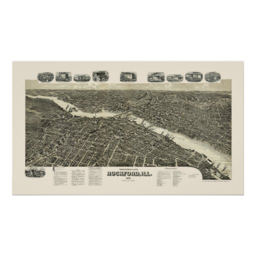 ROCKFORD, mapa panorámico de IL - 1891 Póster