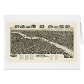 ROCKFORD, mapa panorámico de IL - 1891 Tarjeta De Felicitación