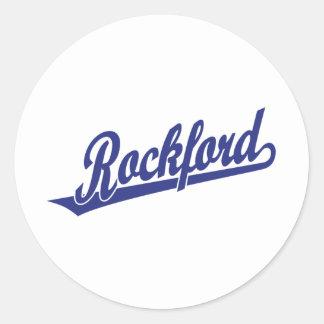 Rockford script logo in blue stickers