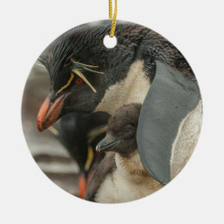 Rockhopper penguin and chick ceramic ornament