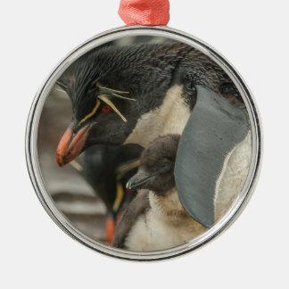Rockhopper penguin and chick metal ornament