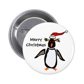 Rockhopper Penguin Christmas Art 2 Inch Round Button