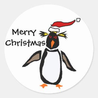Rockhopper Penguin Christmas Art Classic Round Sticker