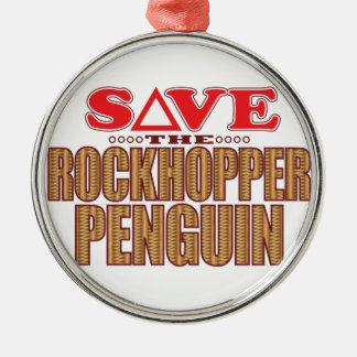 Rockhopper Penguin Save Metal Ornament