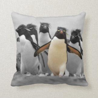 Rockhopper Penguins Throw Pillow