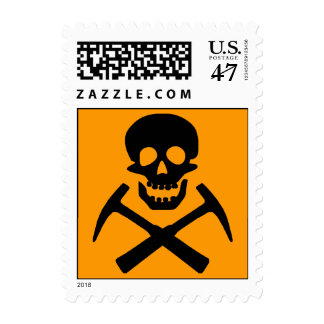 Rockhound Skull Crossed Rock Hammers Postage Stamp