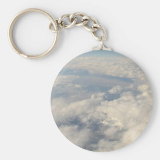 Rockies in Clouds Basic Round Button Keychain