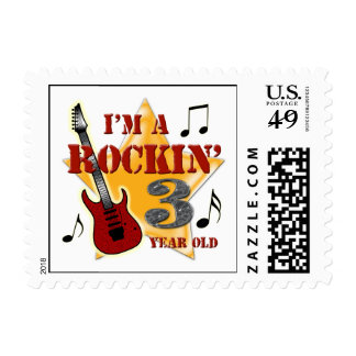 Rockin' Age 3 Postage Stamps