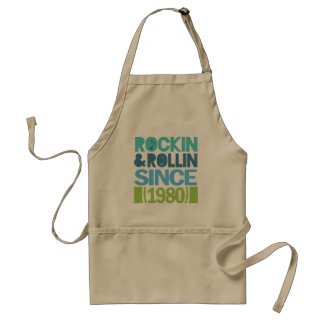 Rockin and Rollin Since 1980 Birthday Adult Apron
