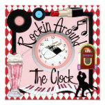 "Rockin' Around the Clock Party - SRF 5.25"" Square Invitation Card"