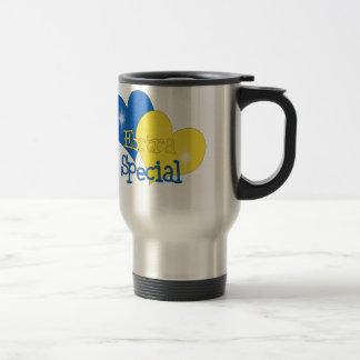 Rockin azul y amarillo taza de viaje de acero inoxidable