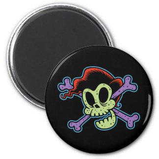Rockin' Billy Skull 2 Inch Round Magnet