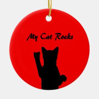 Rockin' Cat Round Ornament