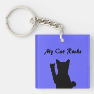Rockin' Cat Square Acrylic Keychain