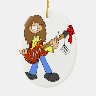 Rockin Christmas Dude Double-Sided Oval Ceramic Christmas Ornament