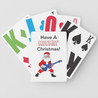 Rockin' Christmas Funny Santa With Guitar Bicycle Playing Cards