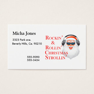 Rockin' Cool Santa Claus With Headphones Business Card