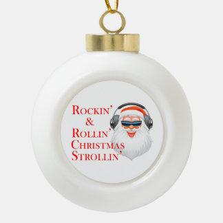 Rockin' Cool Santa Claus With Headphones Ceramic Ball Christmas Ornament