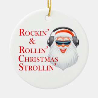 Rockin' Cool Santa Claus With Headphones Ceramic Ornament