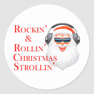 Rockin' Cool Santa Claus With Headphones Classic Round Sticker