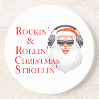 Rockin' Cool Santa Claus With Headphones Drink Coasters