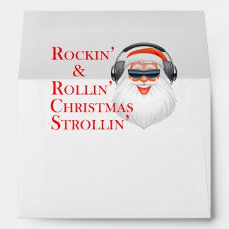 Rockin' Cool Santa Claus With Headphones Envelope