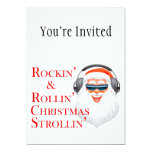 "Rockin' Cool Santa Claus With Headphones 5"" X 7"" Invitation Card"