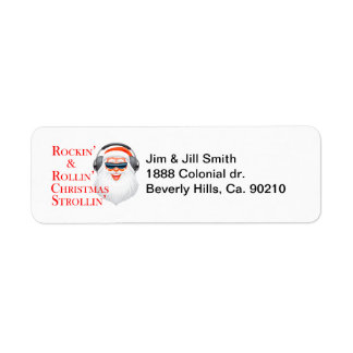 Rockin' Cool Santa Claus With Headphones Label