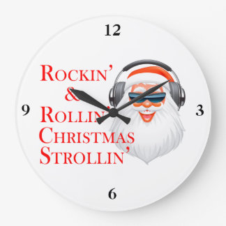 Rockin' Cool Santa Claus With Headphones Large Clock