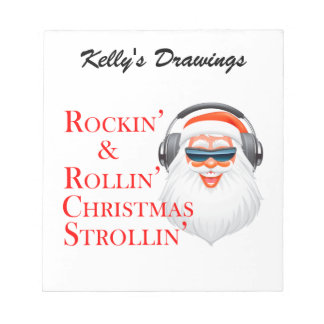 Rockin' Cool Santa Claus With Headphones Notepad