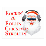 Rockin' Cool Santa Claus With Headphones Postcard