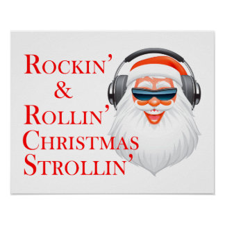 Rockin' Cool Santa Claus With Headphones Poster