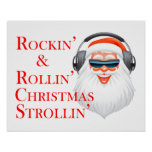 Rockin' Cool Santa Claus With Headphones Posters