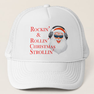 Rockin' Cool Santa Claus With Headphones Trucker Hat