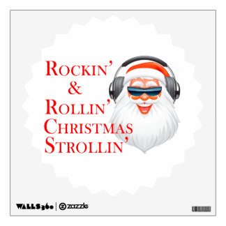 Rockin' Cool Santa Claus With Headphones Wall Decal