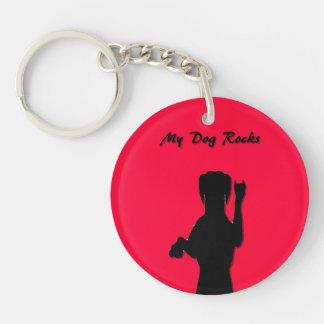 Rockin' Dog Acrylic Round Keychain