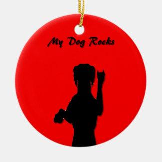 Rockin' Dog Round Ornament