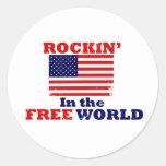 Rockin en el mundo libre etiquetas redondas