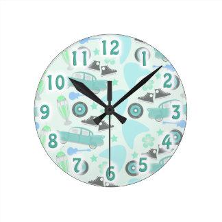 Rockin Fifties Pattern Round Clock