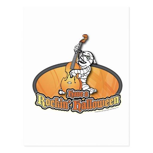 Rockin' Halloween with Mummy on the Upright Bass Postcard