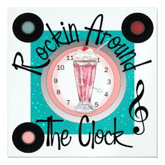 Rockin las veinticuatro horas del día va de fiesta invitación 13,3 cm x 13,3cm