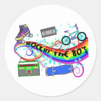 Rockin los años 80 pegatina redonda