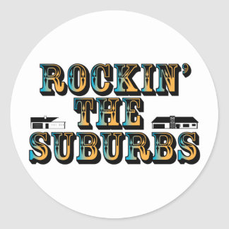 Rockin los suburbios etiqueta redonda