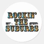 Rockin los suburbios pegatina redonda
