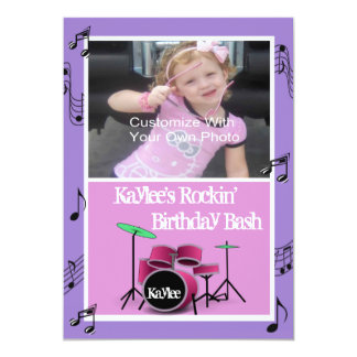 Rockin' Music Theme Birthday Invitations